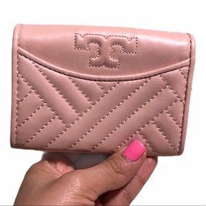NWOT Tory Burch Alexa foldable mini wallet blush